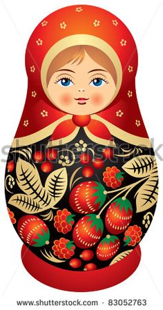 Matryoshka doll in Khokhloma style, Russian wood painting handicraft, Russian nested doll,  Babushka doll, Russian Souvenir, present Droit d'auteur : elmm