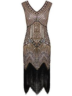 Vijiv Women Gastby Sequin Art Nouveau Embellished Fringed Flapper Dress - Glam Gold X-Large Great Gatsby Dresses, Glam Dresses, Pretty Dresses, Rockabilly Dresses, 1920 Style, Gatsby Style, Goth Style, Cosplay Dress, Costume Dress