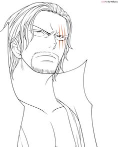 Shanks from One Piece Original character by Eiichiro Oda another Lineart of this amazing character! Color version by: Shanks One Piece Chapter, One Piece Ace, One Piece Drawing, Drawing Base, Coloring Books, Coloring Pages, Anime Boy Sketch, Anime Lineart, Es Der Clown