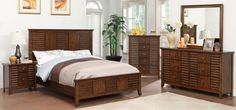 Eola 4Pcs Queen Bedroom Set CM7981 for $1181  (Queen Bed,Night Stand,Dresser,Mirror)  Description :  Outfit your master bedroom with this bold and elegant suite. Louver design headboard and footboard give this bed an understated yet confident look. The matching case goods have full extension drawers with the top ones lined with felt. Unique square brass pulls add to this collection with walnut finish. Features: Transitional Style Louver Design Solid Wood, Wood Veneer, Others Walnut Finish