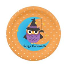 Cute Witch Owl Halloween Paper Plates