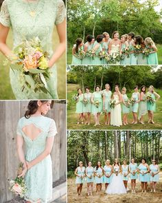 lace mint green bridesmaid dresses