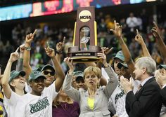 Baylor Bears' head coach Kim Mulkey hoists the trophy after they defeated the Notre Dame Fighting Irish in the women's NCAA Final Four championship college basketball game in Denver, Colorado, April 3, 2012.
