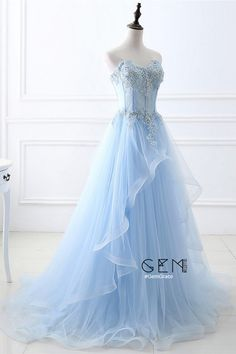 Dreamy blue long formal wedding dress with beaded lace. Custom your size or color for free, by GemGrace Source by igemgrace dresses Blue Evening Dresses, Blue Wedding Dresses, Formal Dresses For Weddings, A Line Prom Dresses, Elegant Dresses, Pretty Dresses, Homecoming Dresses, Formal Wedding, Dress Formal