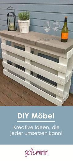 Live creatively: You can easily insert these 4 cool DIY pieces of furniture-Kreativ wohnen: Diese 4 coolen DIY Möbel kannst du ganz einfach selber machen! This sideboard for the balcony or garden is made super fast and cheap! Diy Garden Furniture, Pallet Furniture, Furniture Ideas, Homemade Furniture, Sideboard Furniture, Furniture Refinishing, Rustic Furniture, Playhouse Furniture, Pallet Playhouse