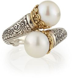 Konstantino Pearl-Tip Silver/Gold Bypass Ring at Neiman Marcus | Diamonds and Pearls | Pinterest by french_violet