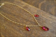 SALE- Fuscia Pink Swarovski Crystal Triple Briolette Necklace. 14K Gold Fill. Delicate/ Bridal/ Bridesmaid/ Custom Bridal/ Timeless/ Fancy on Etsy, $17.31 CAD
