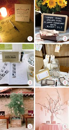 guestbook ideas : In a blank book can be combined a photo booth or a Polaroid with comment right next to each.
