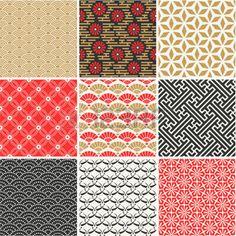 japanese style: Japanese vector seamless patterns set