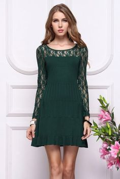 Green Contrast Lace Long Sleeve Pleated Dress