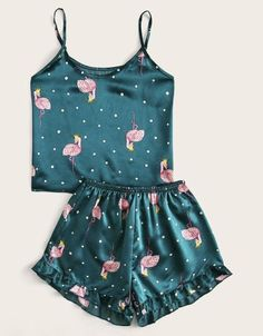 To find out about the Flamingo Print Polka Dot Satin Cami PJ Set at SHEIN, part of our latest Night Sets ready to shop online today! Cute Pajama Sets, Cute Pjs, Cute Pajamas, Pj Sets, Pajamas Women, Cute Sleepwear, Lingerie Sleepwear, Lingerie Party, Teen Fashion