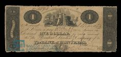 """Bank of Montreal Dollar, 1825 - Until the mid-19th century, Canada's future provinces used the """"Canadian pound."""" Bit by bit, various jurisdictions began to switch to a metric system, and with it came the concept of the Canadian dollar. This Bank of Montreal-issued dollar bill is among the first bills called a dollar to have been printed 