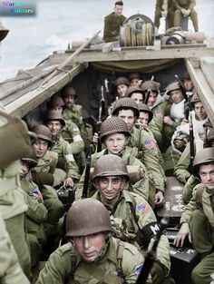 American troops of 16th infantry regiment, 1st infantry division on board a landing craft heading for the beaches at Oran in Algeria during Operation 'Torch', November 1942.