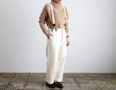 White cotton pants with braces
