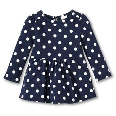Infant Toddler Girls Long Sleeve Polkadot Dress