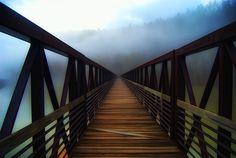 Long wooden walking bridge in Lynchburg, Virginia