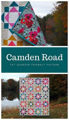 Camden Road by Cheryl of Meadow Mist Designs is fat quarter friendly pattern. The pattern is written in at a confident beginner level and includes instructions for three sizes: baby, lap, and twin. #CamdenRoad #MeadowMistDesigns #CamdenRoadQuilt Vintage Quilts Patterns, Modern Quilt Patterns, Quilting Patterns, Camden Road, Modern Quilting Designs, Fat Quarter Quilt, Colorful Quilts, Traditional Quilts, Scrappy Quilts
