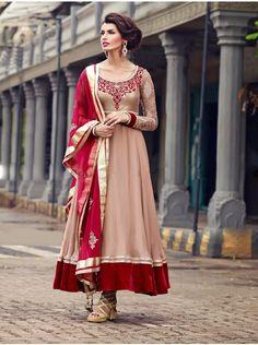 Buy Dark Cream Georgette Anarkali Suit With Velvet Patch And Pearl Work Online - Saree.com