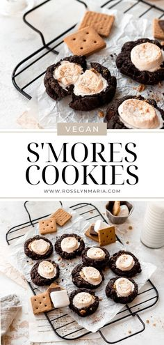 These super easy vegan s'mores cookies are about to be you new summer go-to. They only require 6 ingredients and come together in 20 minutes. The main cookie portion of this s'mores cookie is actually a chocolate fudge cake mix made vegan using flax egg in place of chicken eggs. So this recipe is completely egg-free, dairy-free and can definitely be made gluten-free as well since it uses vegan and gluten-free graham crackers. Chocolate Cake Mix Cookies, Chocolate Cookie Dough, Smores Cookies, Chocolate Sweets, Vegan Chocolate, Vegan Dessert Recipes, Delicious Vegan Recipes, Vegan Sweets, Vegan Baking