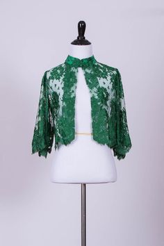 Vintage Green Lace Bolero Jacket with Mandarin Collar and Bell Sleeves