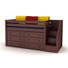 Maxtrix Kids GREAT3 Low Loft Staircase Panel Bed with 6 Drawer Dresser