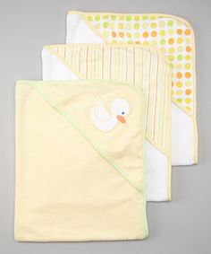 Look what I found on #zulily! SpaSilk Yellow Duck Polka Dot Terry Hooded Towel Set by SpaSilk #zulilyfinds