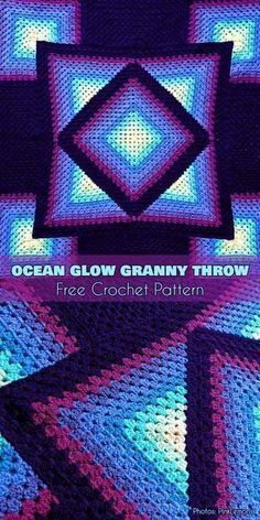 Crochet Granny Square Blankets Ocean Glow Granny Throw - Free Crochet Pattern - New Craft Works Crochet Afghans, Motifs Afghans, Crochet Quilt, Afghan Crochet Patterns, Crochet Stitches, Knitting Patterns, Crochet Blankets, Vintage Crochet Patterns, Throw Blankets