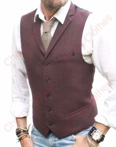 MENS MAROON TWEED LAPEL COLLAR WAISTCOAT SLIM FIT VEST - ALL SIZES