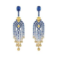 Chaumet Lumieres d'Eau high jewellery necklace in white and yellow gold, set with two oval-cut blue sapphires from Ceylon, two pear-shaped yellow sapphires, round and baguette-cut blue and yellow sapphires, and diamonds. (=)
