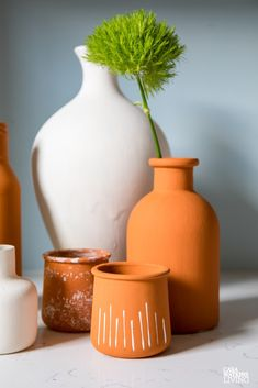 DIY Modern TerraCotta Vases from Upcycled Jars - Casa Watkins Living