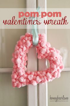 Easy Valentine's Pompom Wreath