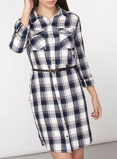 Navy and red check shirt dress with pu belt detail and rolled sleeves. Blue Dresses, Dresses For Work, Belted Shirt Dress, Debenhams, Cape, Sleeves, Check, France, Collection
