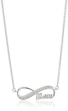Sterling Silver Cubic Zirconia Infinity Mom Pendant Necklace 18 * Be sure to check out this.