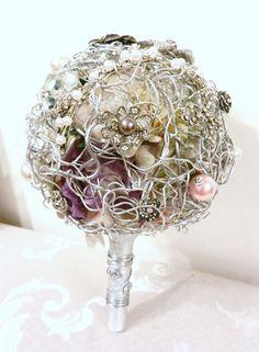 Pink & Silver Wedding Brooch Bouquet!