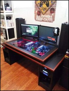 Here are the 3 desk builds that I got my inspiration from :) (Together with this and this build for the inside long before I ever thought of modding) So started my own desk build. Other desk builds I Custom Pc Desk, Custom Computer Desk, Built In Computer Desk, Gaming Desk Setup, Computer Gaming Room, Computer Setup, Tv Diy, Diy Pc, Pc Gamer
