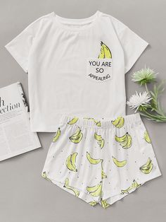 Shop Banana Print Pocket Front Top With Shorts Pajama Set online. SheIn offers Banana Print Pocket Front Top With Shorts Pajama Set & more to fit your fashionable needs.