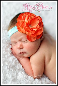 Baby Headband..Baby Girl Headbands..Newborn Headbands...Orange Flower Headband..Vintage Glamour Headband..Baby Headbands..Baby Bow on Etsy, $7.50