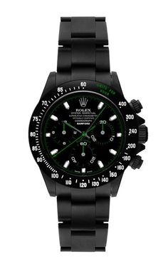 Black Daytona With Green And White Detailing by Bamford Watch Department for Preorder on Moda Operandi