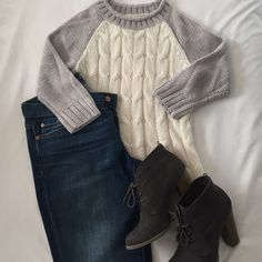 3/4 Cable Knit Sweater Gray and Ivory. 3/4 sleeve. Cable knit. Medium weight. Perfect for fall, winter, and spring. Baseball tee-shirt pattern gives it a relaxed, cool feeling.  (jeans also for sale!) Mossimo Supply Co. Sweaters Crew & Scoop Necks