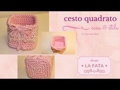 Tutorial:cestino quadrato/cestino uncinetto***la fata tuttofare* - YouTube Crochet Bowl, Free Crochet, Crochet Hats, Cotton Cord, T Shirt Yarn, Free Pattern, Diy And Crafts, Crochet Patterns, Place Card Holders