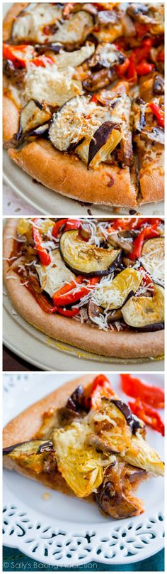 Homemade Roasted Vegetable Pizza on top of my honey-sweetened whole wheat pizza crust. You will love this recipe! @Sally [Sally's Baking Addiction]