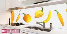 Splashbacks Glass design - Yellow cupsicums - 100216