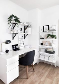 Modern minimalist work space in home office with white desk and open storage