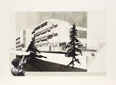 Katarina Burin <em>Bohuslav Fuchs, Alternate project for the Vesna Women's Vocational School and the home of Eliska Machová, Brno-Stránice, Lipová Street, 1929</em>, 2012 Collage and ink on paper 22 x 29 inches