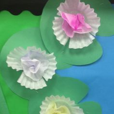 Coffee filter flower lily pads. Inside coffee filter is done with watercolor.