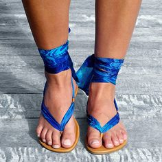 Lace up sandals, Ribbon Strap sandals in 7 shades of Blue, All Sizes Available
