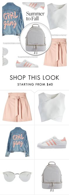 """""""Summer to Fall Layering"""" by irena123 ❤ liked on Polyvore featuring Miss Selfridge, Chicwish, High Heels Suicide, adidas Originals, Fendi, MICHAEL Michael Kors, school, polyvorecontest and polyvorefashion"""