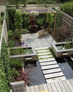√top 45 best backyard pond ideas – outdoor water feature designs page 28 Modern Backyard, Ponds Backyard, Backyard Landscaping, Garden Ponds, Landscaping Ideas, Modern Pond, Patio Pond, Garden Water, Garden Seating