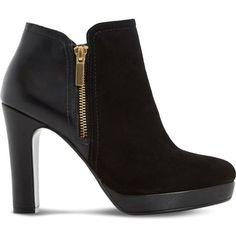 Dune Oscar leather and suede heeled ankle boots (€85) ❤ liked on Polyvore
