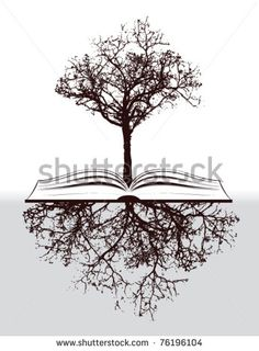 tree with book and roots - stock vector